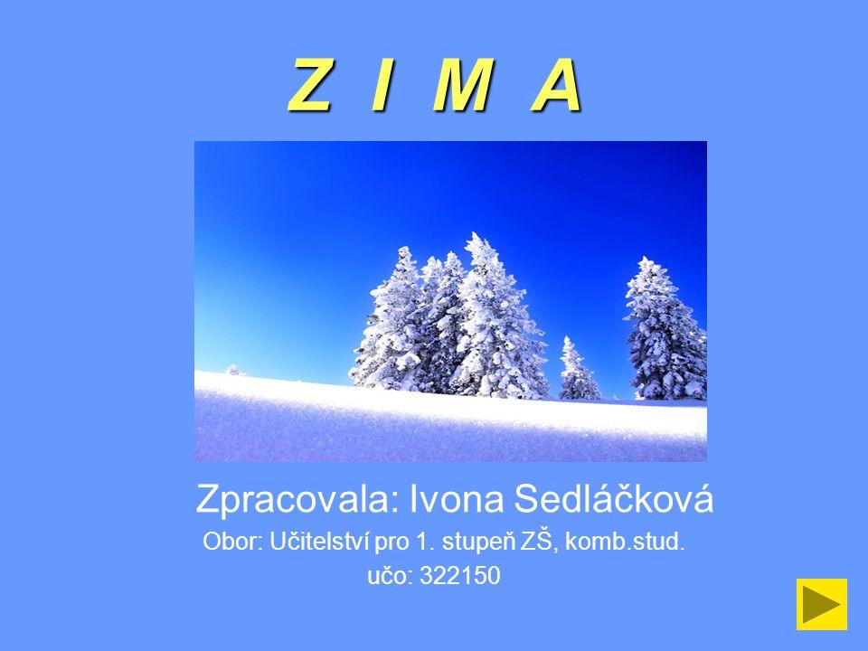 Z I M A Zpracovala: Ivona Sedláčková Obor: Učitelství pro 1. stupeň ZŠ, komb.stud. učo: 322150