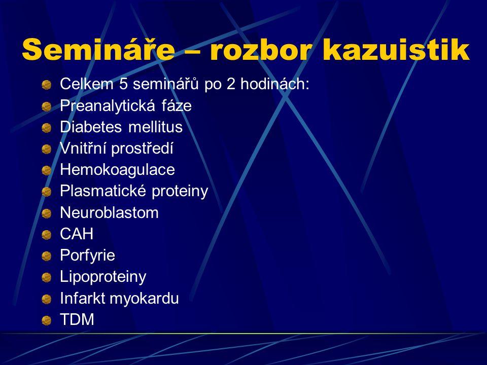Semináře – rozbor kazuistik Celkem 5 seminářů po 2 hodinách: Preanalytická fáze Diabetes mellitus Vnitřní prostředí Hemokoagulace Plasmatické proteiny Neuroblastom CAH Porfyrie Lipoproteiny Infarkt myokardu TDM