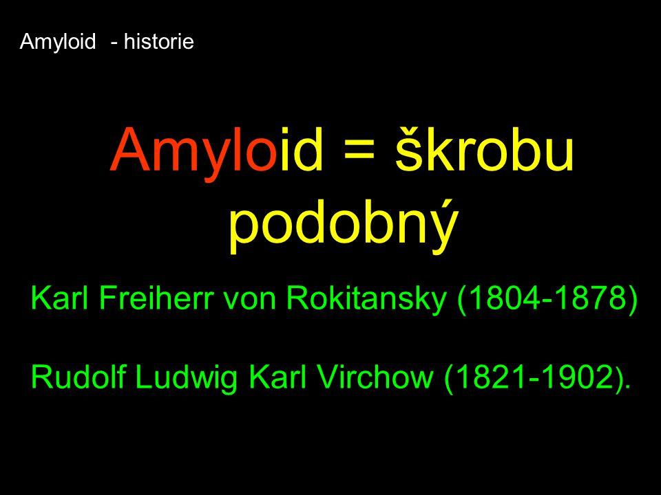 Amyloid = škrobu podobný Karl Freiherr von Rokitansky (1804-1878) Rudolf Ludwig Karl Virchow (1821-1902 ).