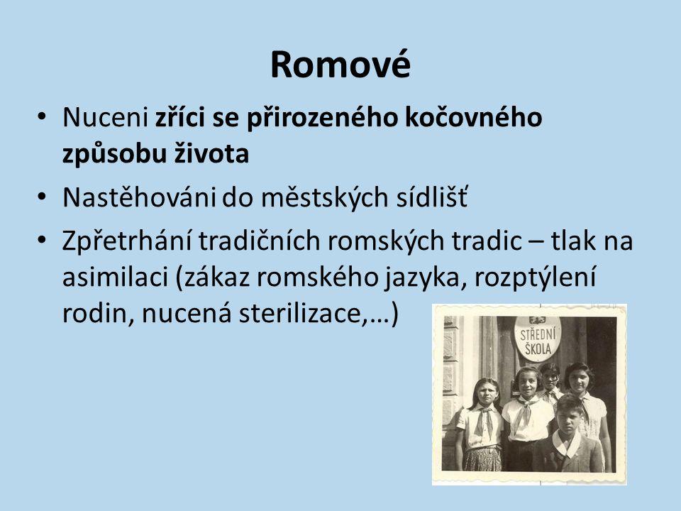 Romové Nuceni zříci se přirozeného kočovného způsobu života Nastěhováni do městských sídlišť Zpřetrhání tradičních romských tradic – tlak na asimilaci (zákaz romského jazyka, rozptýlení rodin, nucená sterilizace,…)
