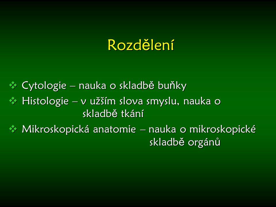 Rozd ě lení  Cytologie – nauka o skladb ě bu ň ky  Histologie – v užším slova smyslu, nauka o skladb ě tkání  Mikroskopická anatomie – nauka o mikr