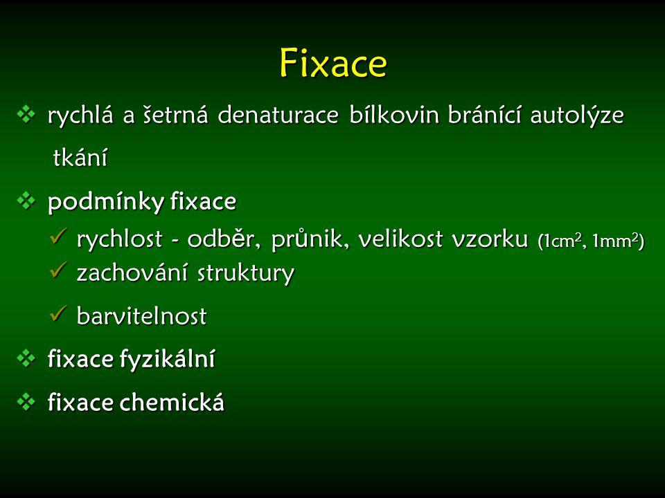 Fixační tekutiny  formaldehyd (4% formaldehyd, neutrální nebo pufrovaný)  Bouinova (formaldehyd + k.
