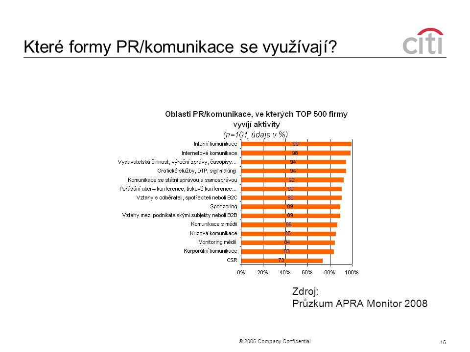 ® 2006 Company Confidential 16 Které formy PR/komunikace se využívají? Zdroj: Průzkum APRA Monitor 2008