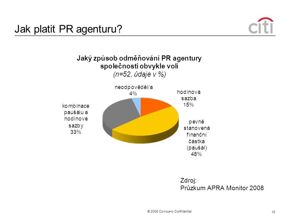 ® 2006 Company Confidential 18 Jak platit PR agenturu Zdroj: Průzkum APRA Monitor 2008
