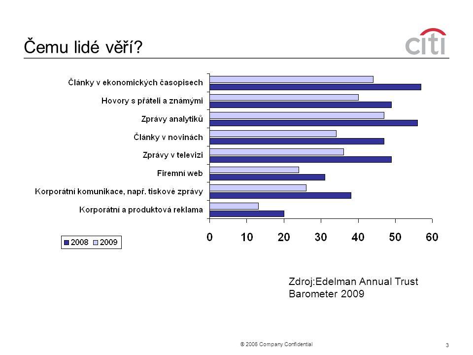 ® 2006 Company Confidential 3 Čemu lidé věří Zdroj:Edelman Annual Trust Barometer 2009