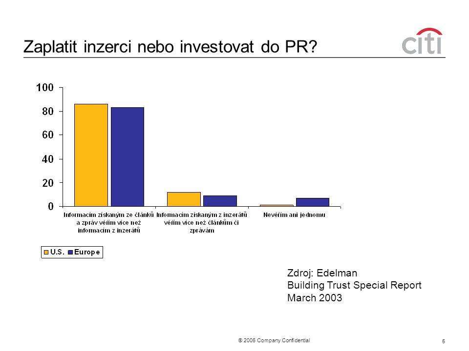 ® 2006 Company Confidential 5 Zaplatit inzerci nebo investovat do PR? Zdroj: Edelman Building Trust Special Report March 2003