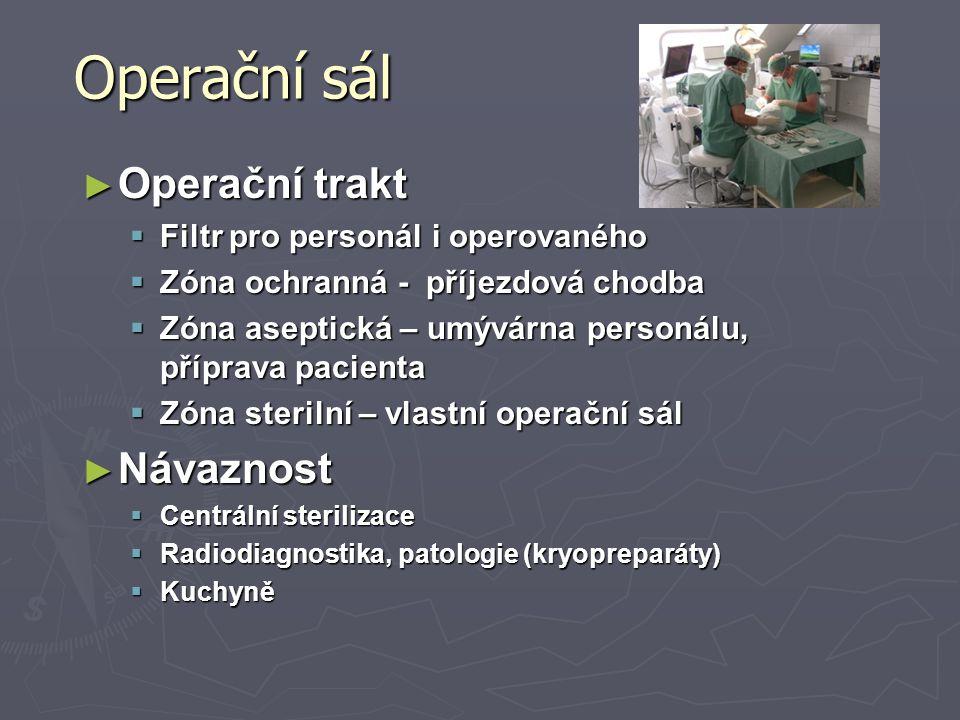 Operační sál ► Operační trakt  Filtr pro personál i operovaného  Zóna ochranná - příjezdová chodba  Zóna aseptická – umývárna personálu, příprava p