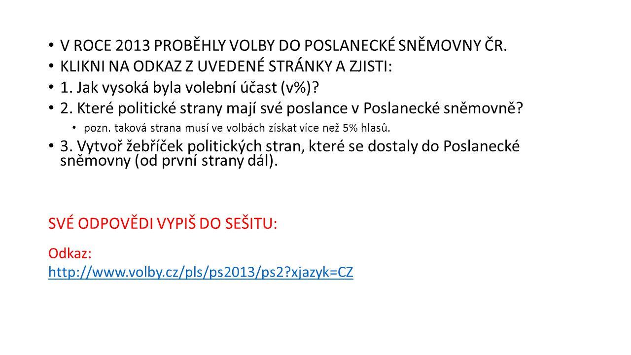V ROCE 2013 PROBĚHLY VOLBY DO POSLANECKÉ SNĚMOVNY ČR.