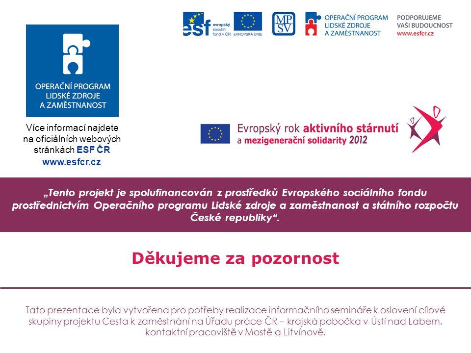 """""""Tento projekt je spolufinancován z prostředků Evropského sociálního fondu prostřednictvím Operačního programu Lidské zdroje a zaměstnanost a státního rozpočtu České republiky ."""