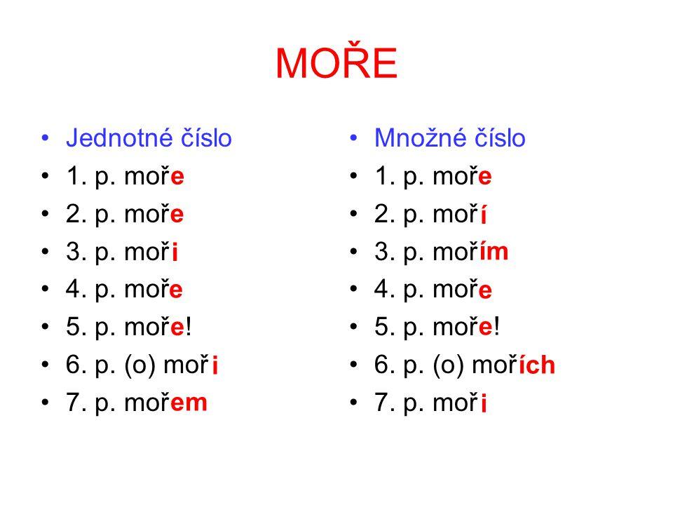 Podle vzoru kuře se skloňují podstatná jména rodu středního zakončená na e/ě, která mají ve 2.