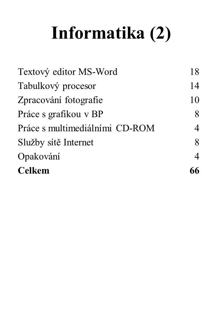 Informatika (2) Textový editor MS-Word 18 Tabulkový procesor 14 Zpracování fotografie 10 Práce s grafikou v BP8 Práce s multimediálními CD-ROM4 Služby sítě Internet8 Opakování4 Celkem 66