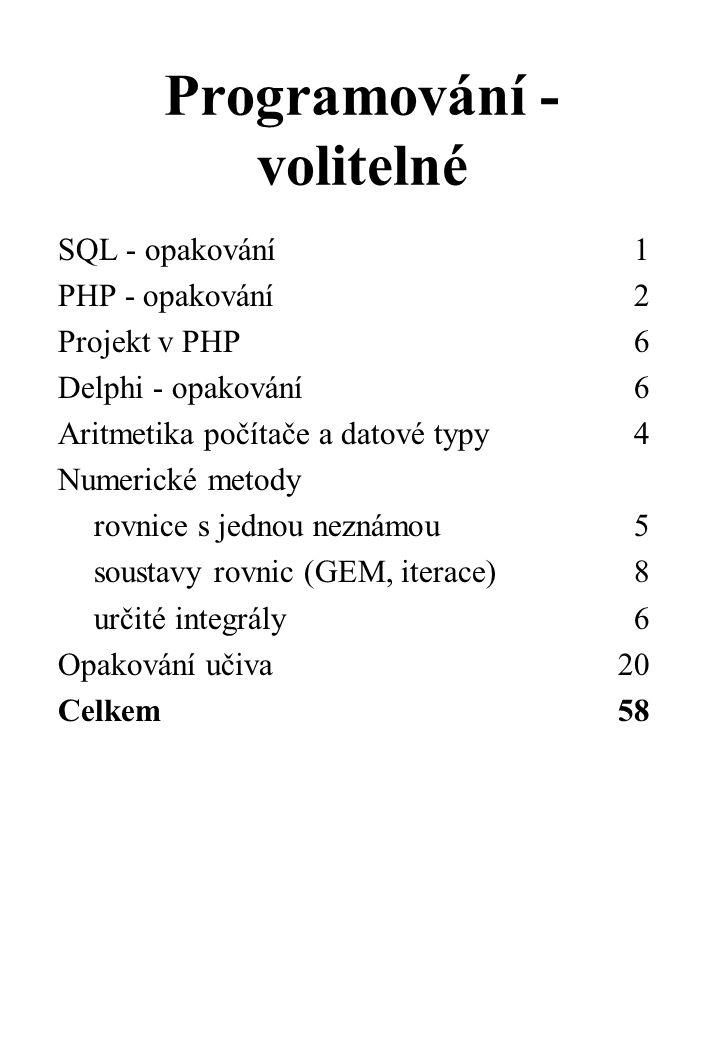 Programování - volitelné SQL - opakování1 PHP - opakování2 Projekt v PHP6 Delphi - opakování6 Aritmetika počítače a datové typy4 Numerické metody rovnice s jednou neznámou5 soustavy rovnic (GEM, iterace)8 určité integrály6 Opakování učiva 20 Celkem 58
