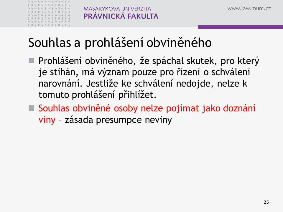 www.law.muni.cz Souhlas a prohlášení obviněného Prohlášení obviněného, že spáchal skutek, pro který je stíhán, má význam pouze pro řízení o schválení