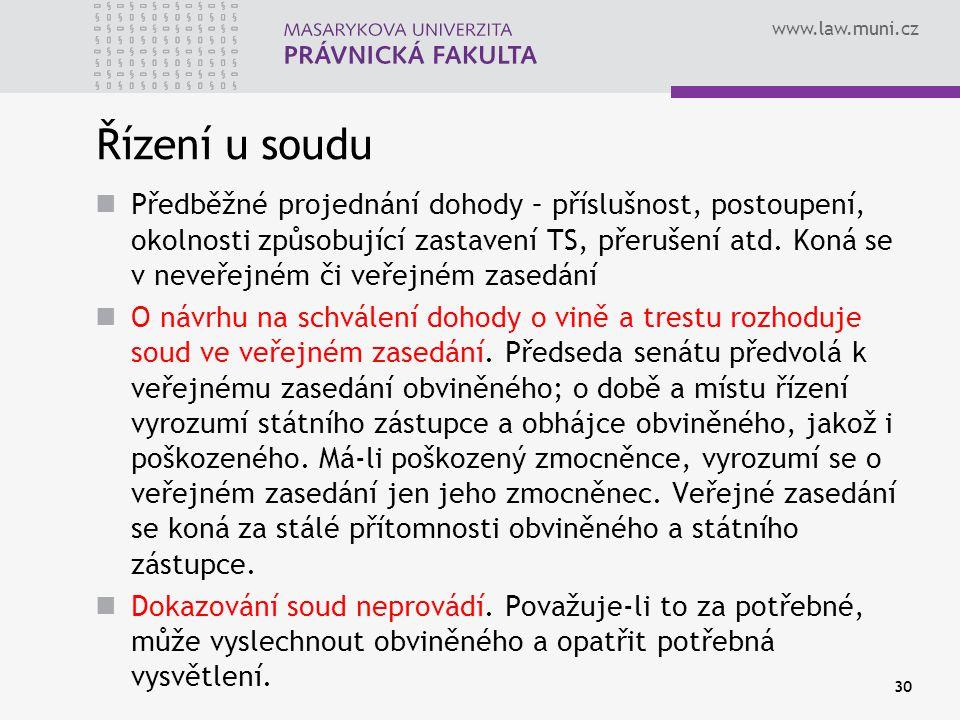 www.law.muni.cz Řízení u soudu Předběžné projednání dohody – příslušnost, postoupení, okolnosti způsobující zastavení TS, přerušení atd. Koná se v nev