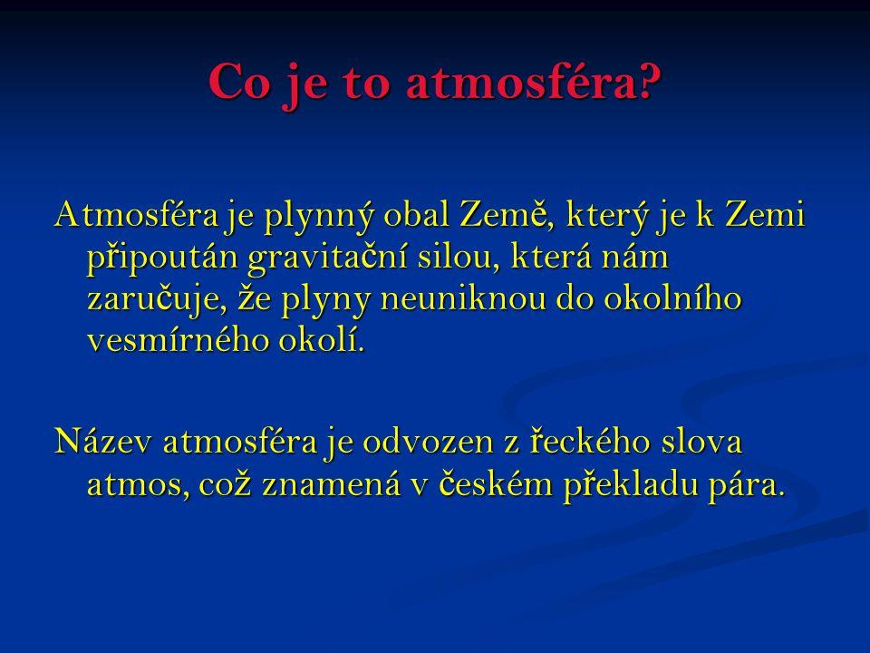 Co je to atmosféra? Atmosféra je plynný obal Zem ě, který je k Zemi p ř ipoután gravita č ní silou, která nám zaru č uje, ž e plyny neuniknou do okoln