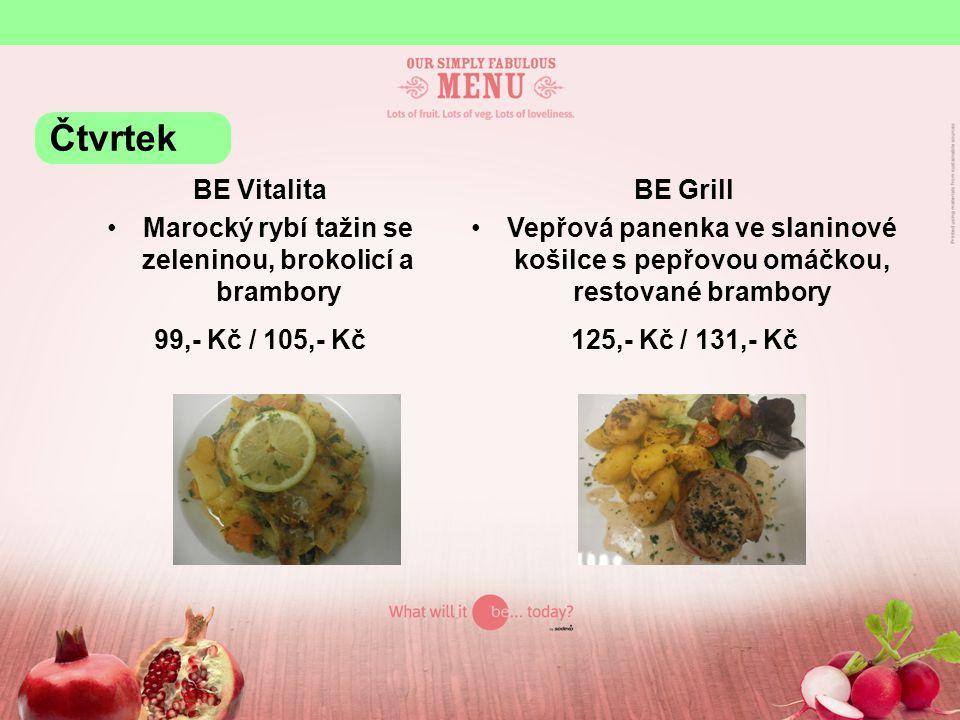 BE yourself Vepřové maso s čerstvou bazalkou a chilli, hrášek, divoká rýže Krůtí prsa po řecku, brambory, restovaná zelenina KB 28,81 Kč / cizí 31,- Kč / 100g Čtvrtek