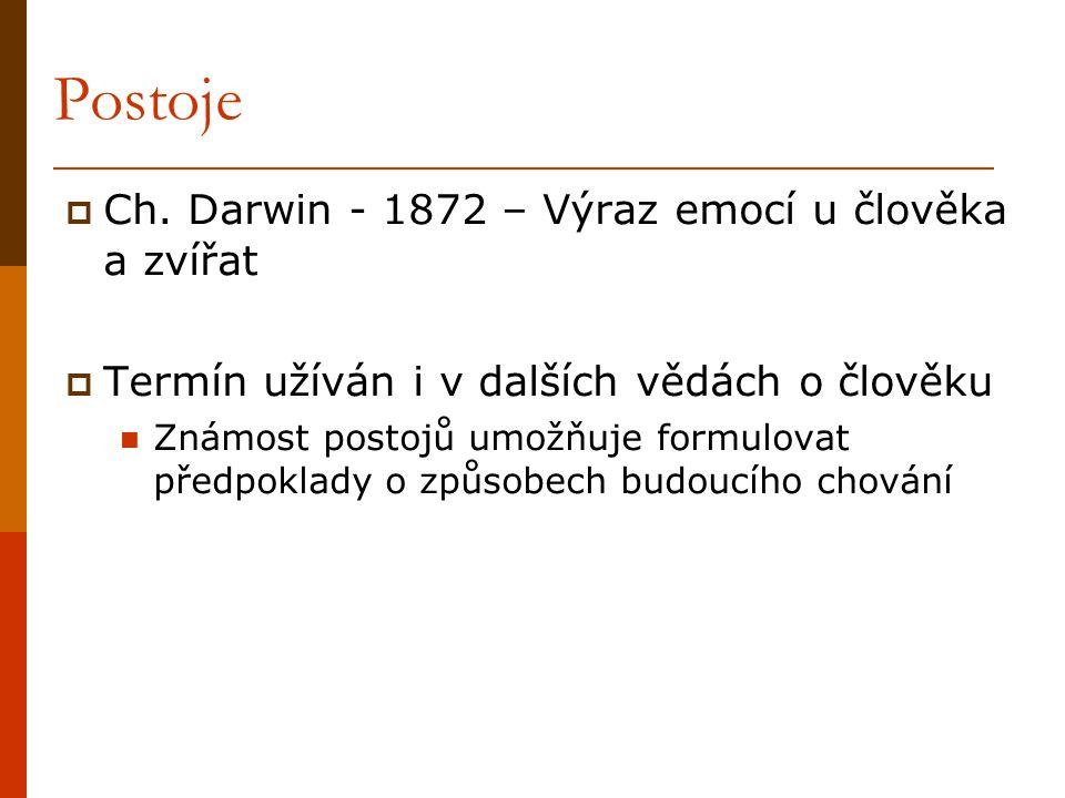Postoje  Ch. Darwin - 1872 – Výraz emocí u člověka a zvířat  Termín užíván i v dalších vědách o člověku Známost postojů umožňuje formulovat předpokl