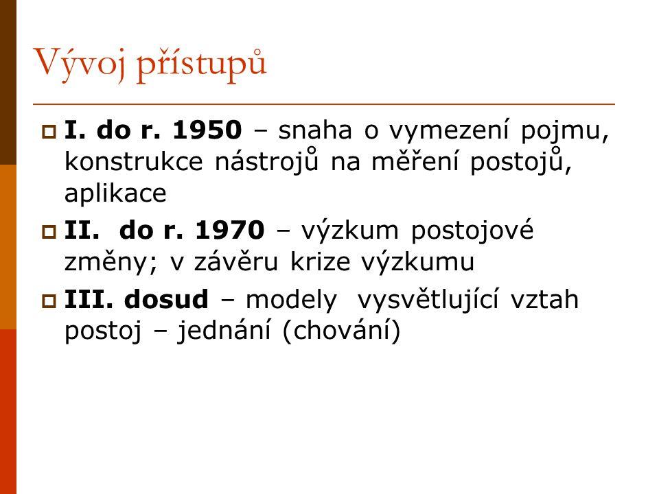 Vývoj přístupů  I. do r. 1950 – snaha o vymezení pojmu, konstrukce nástrojů na měření postojů, aplikace  II. do r. 1970 – výzkum postojové změny; v