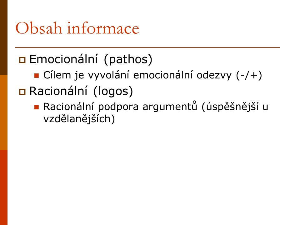 Obsah informace  Emocionální (pathos) Cílem je vyvolání emocionální odezvy (-/+)  Racionální (logos) Racionální podpora argumentů (úspěšnější u vzdě