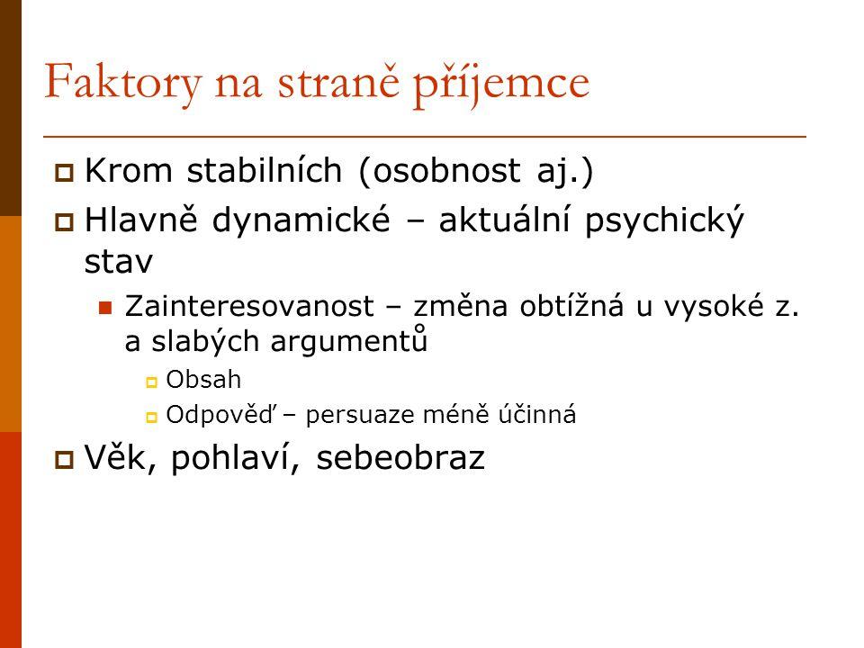 Faktory na straně příjemce  Krom stabilních (osobnost aj.)  Hlavně dynamické – aktuální psychický stav Zainteresovanost – změna obtížná u vysoké z.