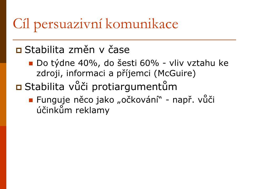 Cíl persuazivní komunikace  Stabilita změn v čase Do týdne 40%, do šesti 60% - vliv vztahu ke zdroji, informaci a příjemci (McGuire)  Stabilita vůči
