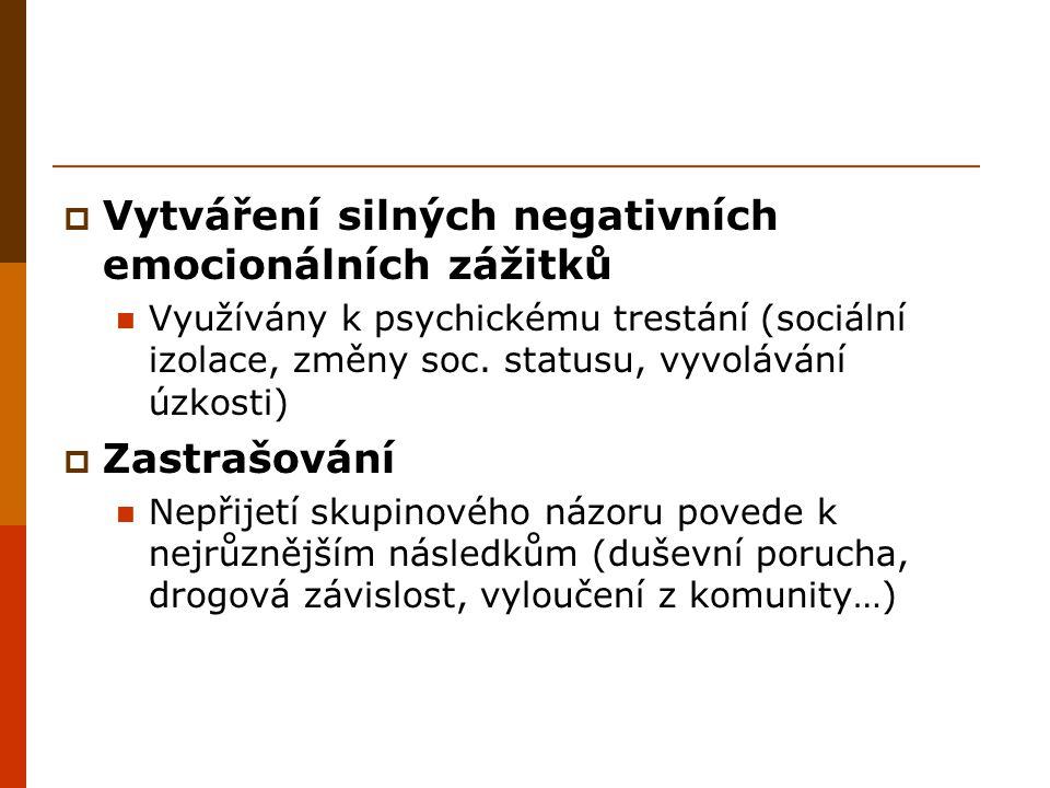  Vytváření silných negativních emocionálních zážitků Využívány k psychickému trestání (sociální izolace, změny soc. statusu, vyvolávání úzkosti)  Za