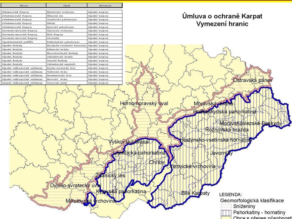 ZÁKLADNÍ DATA Úmluva podepsána 22. května 2003 Vstup v platnost 4. ledna 2006 pro Ukrajinu, Slovensko, ČR, Maďarsko, Polsko Vymezení Karpat na princip