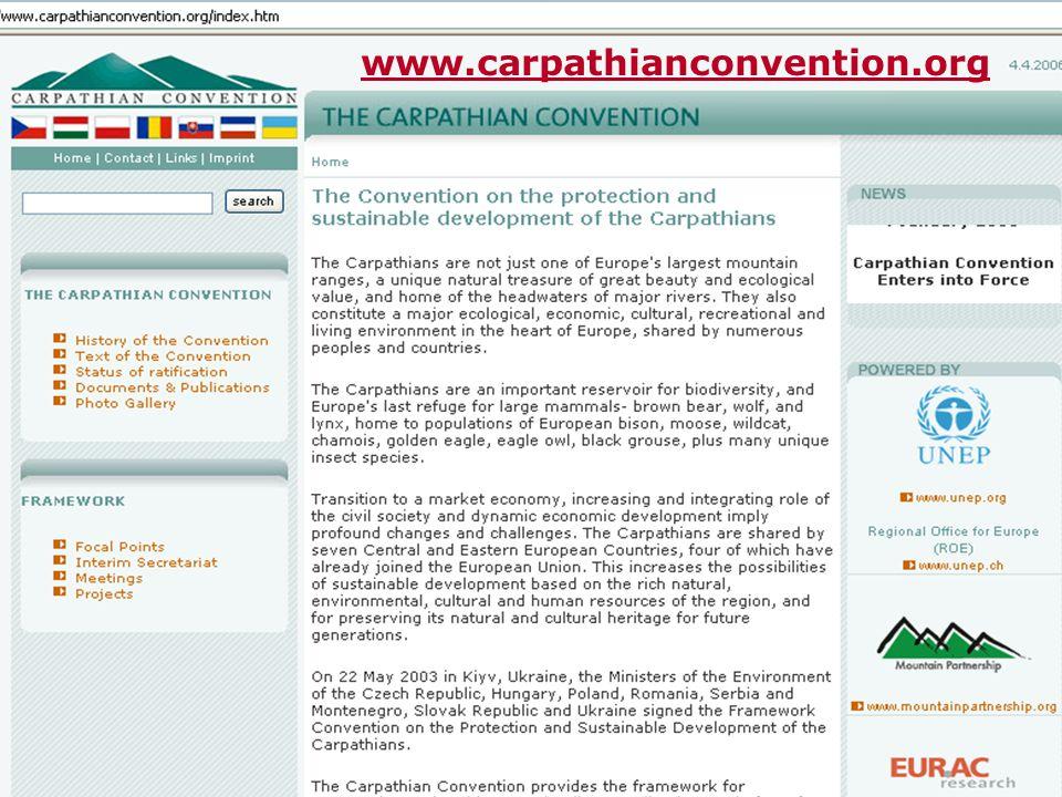 FUNGOVÁNÍ ÚMLUVY COP- Konference smluvních stran (1x za 3 roky) COP 1 – 11. – 13. prosince 2006, Ukrajina Přijímá rozhodnutí k podpoře provádění Úmluv