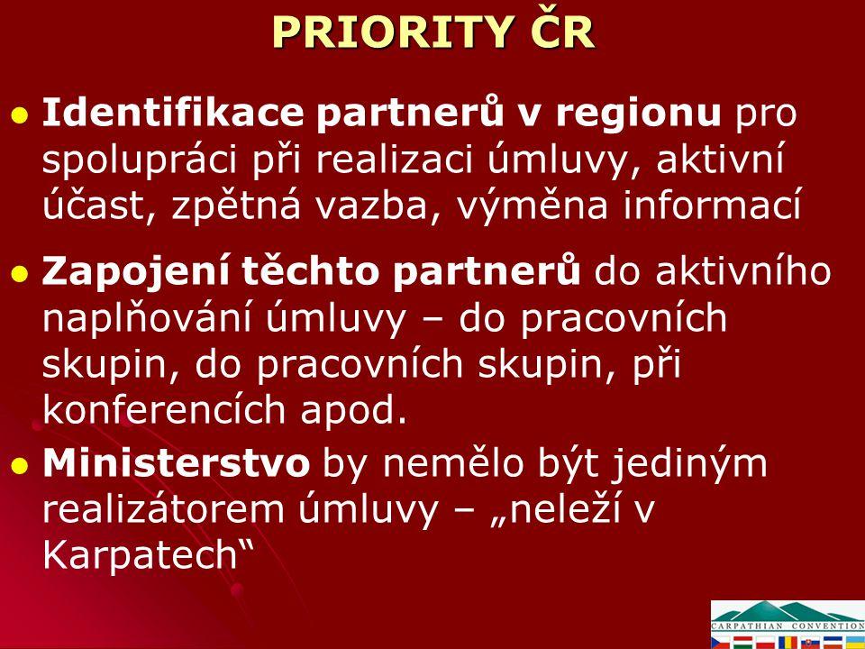PRIORITY ČR Identifikace partnerů v regionu pro spolupráci při realizaci úmluvy, aktivní účast, zpětná vazba, výměna informací Zapojení těchto partner