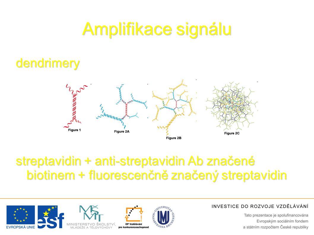 Amplifikace signálu dendrimery streptavidin + anti-streptavidin Ab značené biotinem + fluorescenčně značený streptavidin