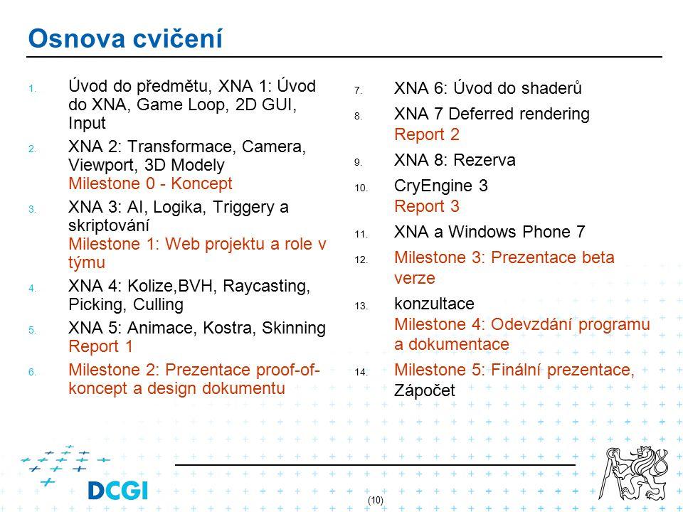 (10) Osnova cvičení 1. Úvod do předmětu, XNA 1: Úvod do XNA, Game Loop, 2D GUI, Input 2. XNA 2: Transformace, Camera, Viewport, 3D Modely Milestone 0