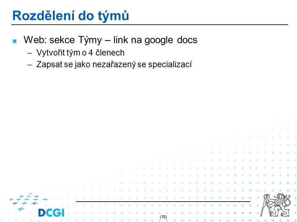 Rozdělení do týmů Web: sekce Týmy – link na google docs –Vytvořit tým o 4 členech –Zapsat se jako nezařazený se specializací (18)