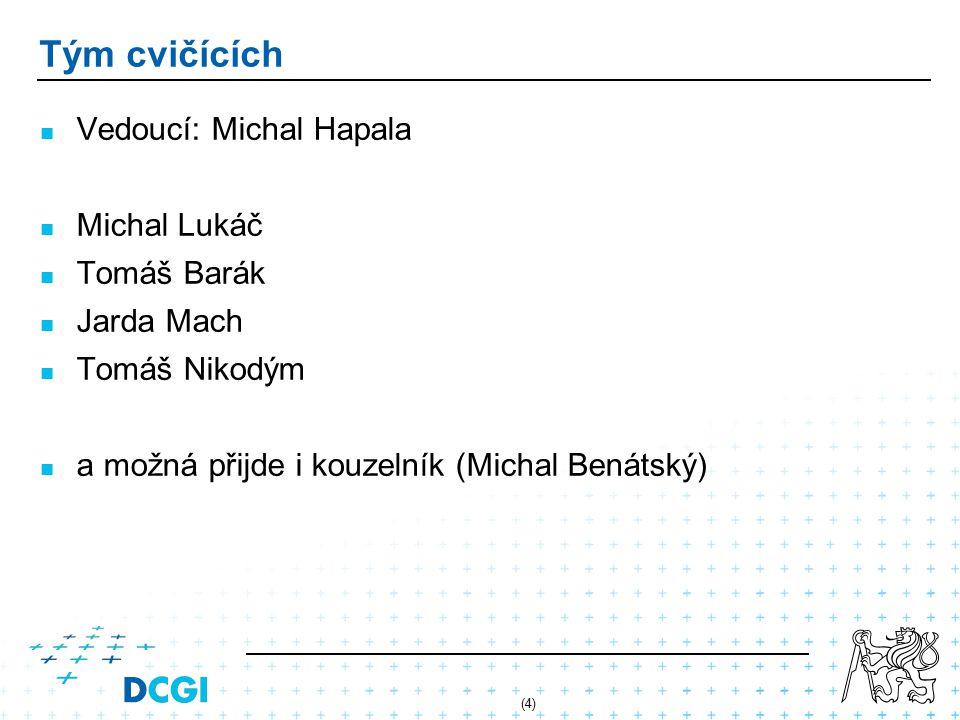 (4) Tým cvičících Vedoucí: Michal Hapala Michal Lukáč Tomáš Barák Jarda Mach Tomáš Nikodým a možná přijde i kouzelník (Michal Benátský)