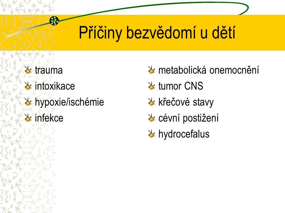 Příčiny bezvědomí u dětí trauma intoxikace hypoxie/ischémie infekce metabolická onemocnění tumor CNS křečové stavy cévní postižení hydrocefalus