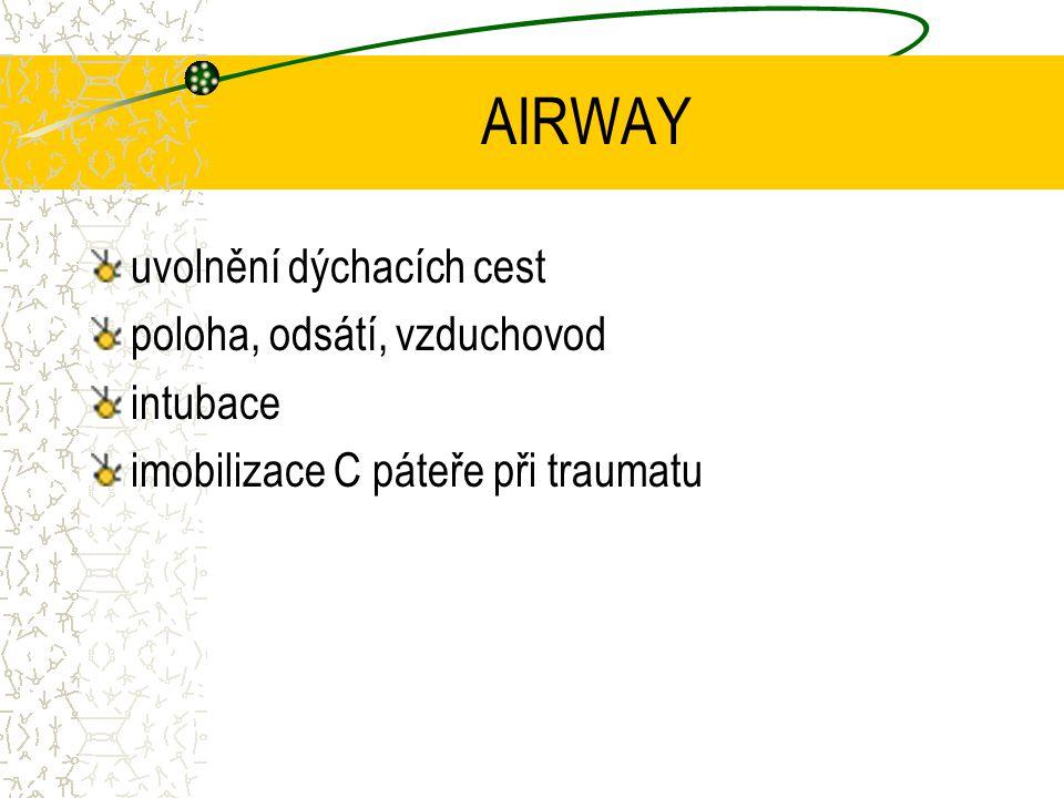 AIRWAY uvolnění dýchacích cest poloha, odsátí, vzduchovod intubace imobilizace C páteře při traumatu