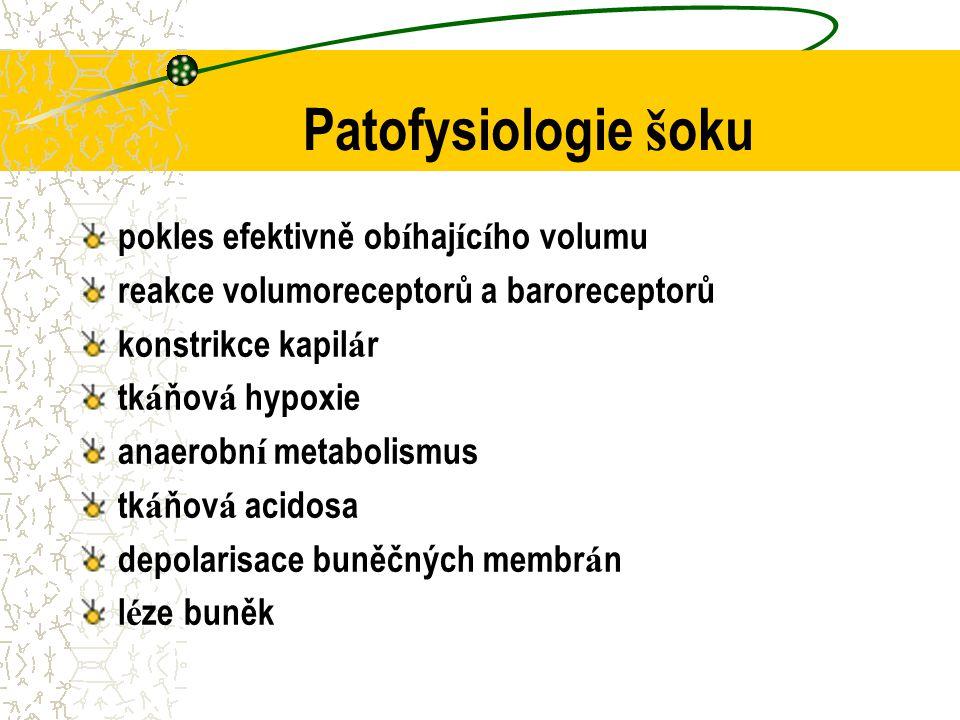 Patofysiologie š oku pokles efektivně ob í haj í c í ho volumu reakce volumoreceptorů a baroreceptorů konstrikce kapil á r tk á ňov á hypoxie anaerobn í metabolismus tk á ňov á acidosa depolarisace buněčných membr á n l é ze buněk