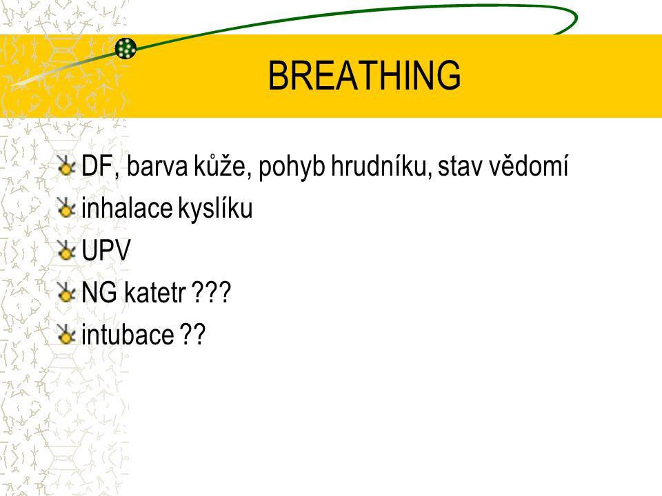 BREATHING DF, barva kůže, pohyb hrudníku, stav vědomí inhalace kyslíku UPV NG katetr .