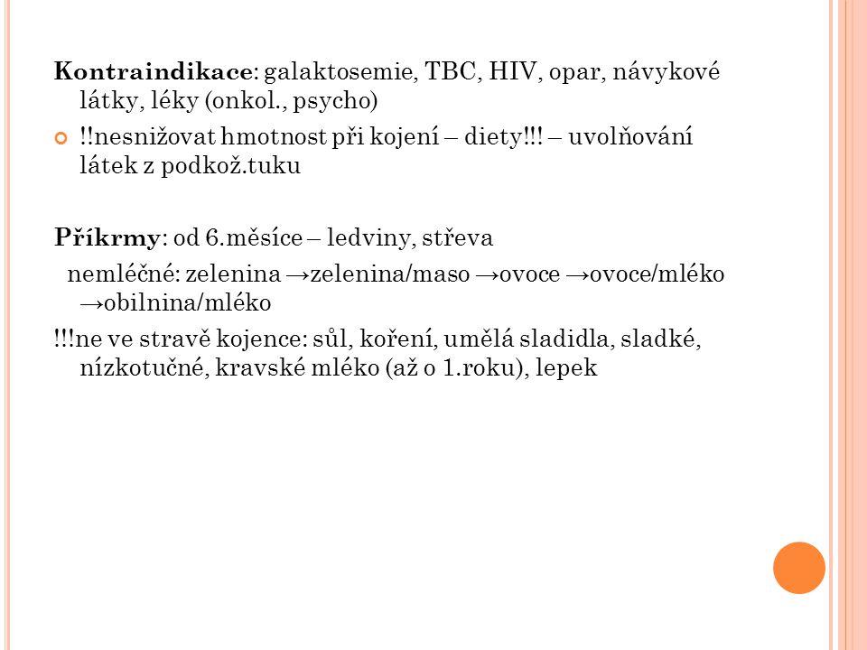 Kontraindikace : galaktosemie, TBC, HIV, opar, návykové látky, léky (onkol., psycho) !!nesnižovat hmotnost při kojení – diety!!! – uvolňování látek z