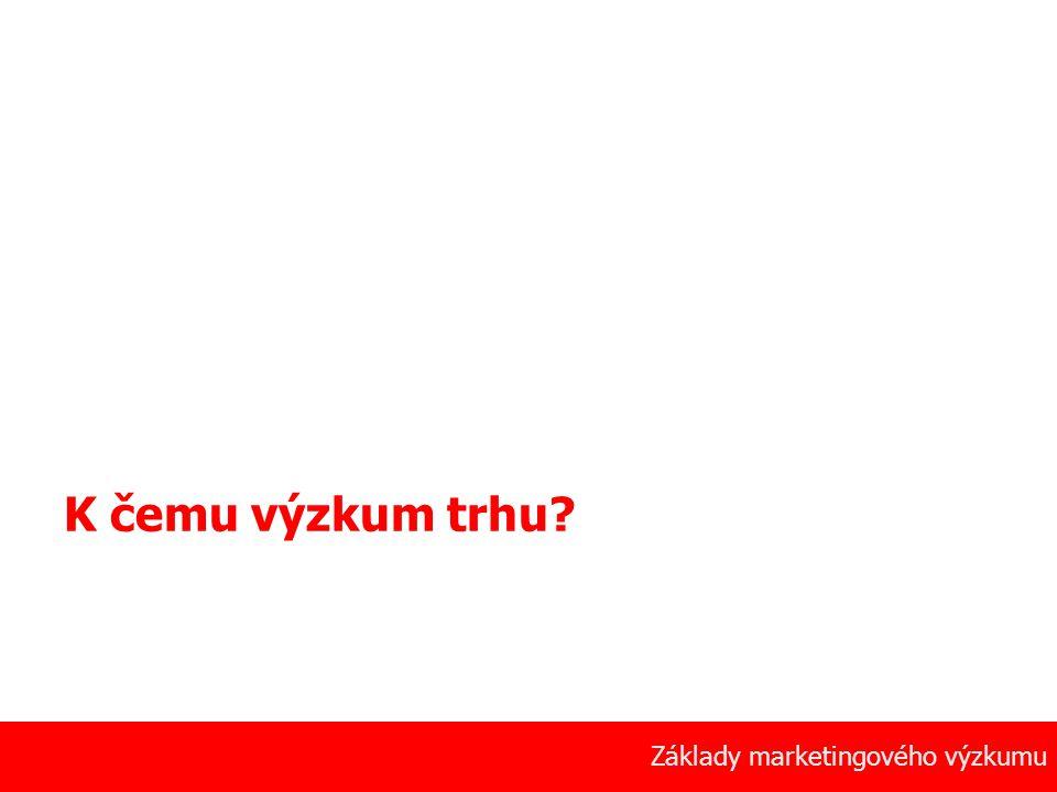 10 Základy marketingového výzkumu K čemu výzkum trhu?