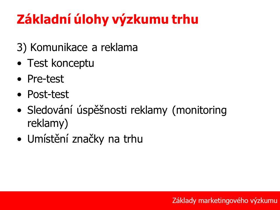 16 Základy marketingového výzkumu Základní úlohy výzkumu trhu 3) Komunikace a reklama Test konceptu Pre-test Post-test Sledování úspěšnosti reklamy (monitoring reklamy) Umístění značky na trhu