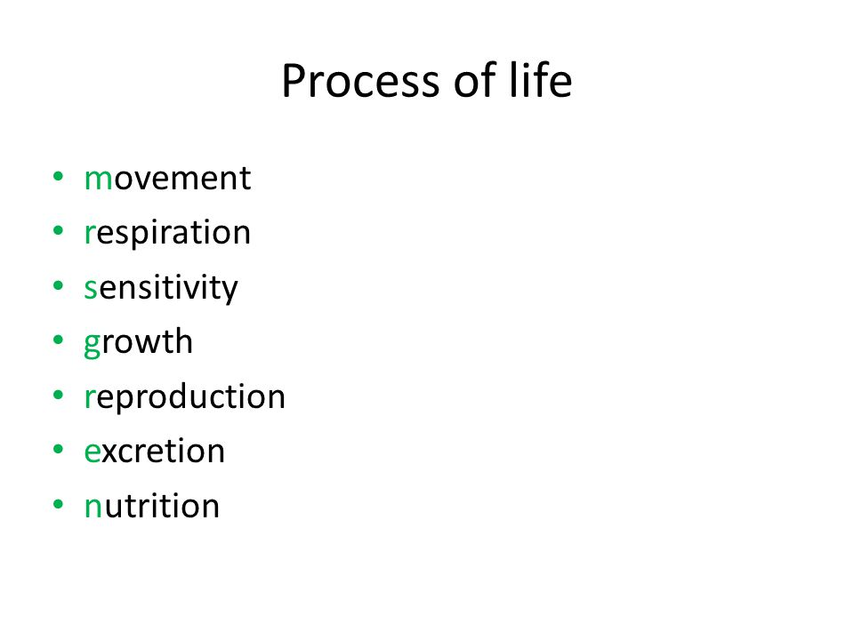 Process of life movement respiration sensitivity growth reproduction excretion nutrition