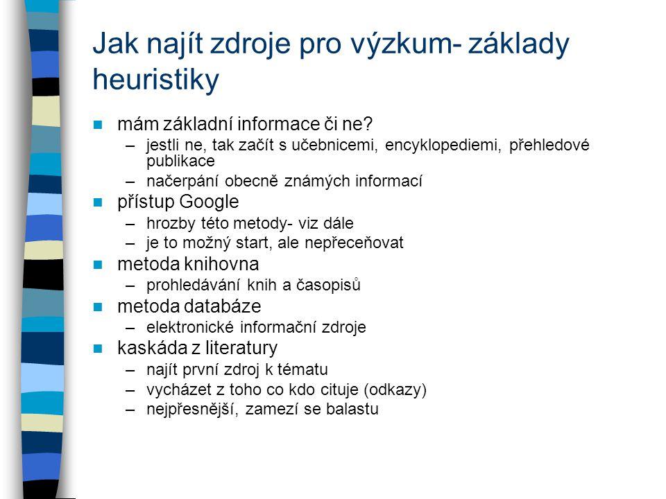 Jak najít zdroje pro výzkum- základy heuristiky mám základní informace či ne? –jestli ne, tak začít s učebnicemi, encyklopediemi, přehledové publikace