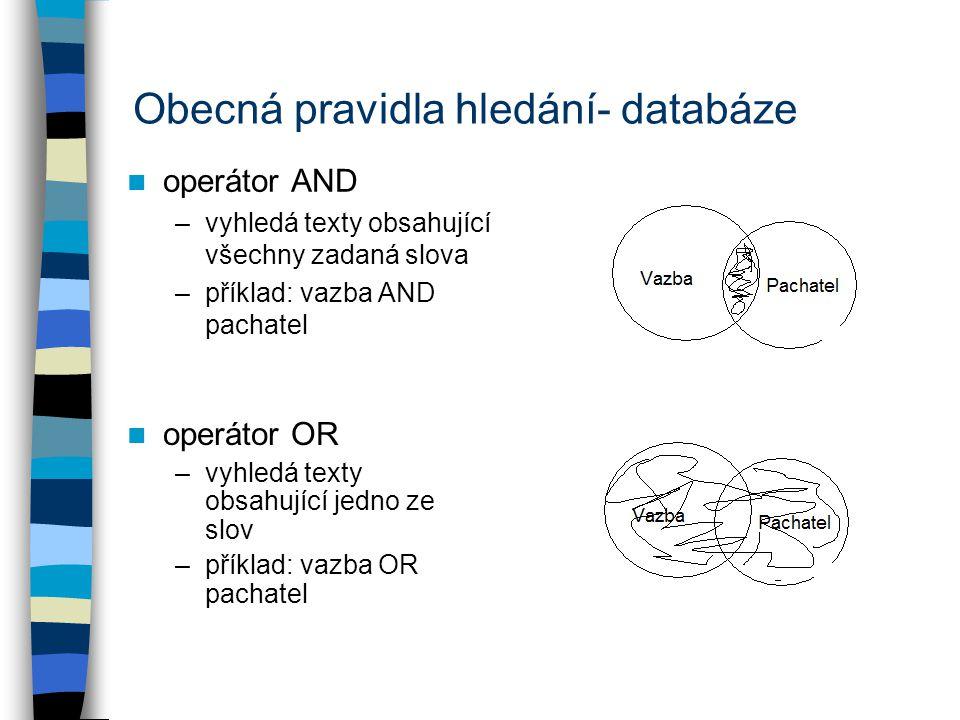 Obecná pravidla hledání- databáze operátor AND –vyhledá texty obsahující všechny zadaná slova –příklad: vazba AND pachatel operátor OR –vyhledá texty