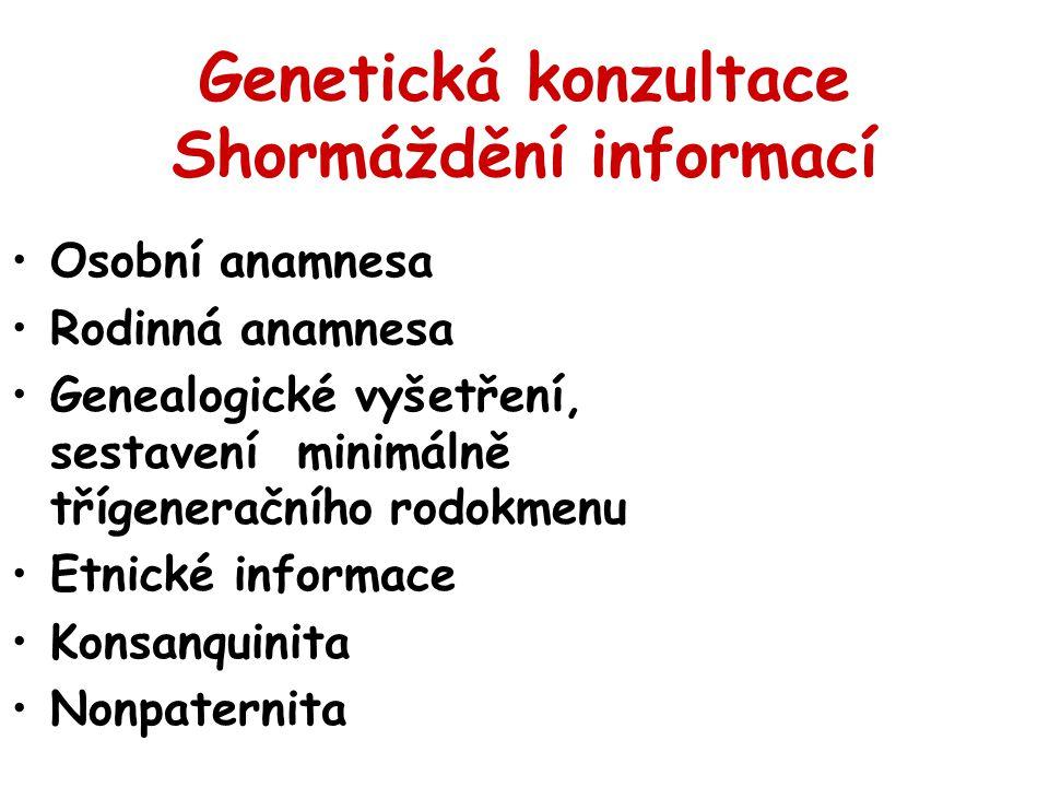 Genetická konzultace Shormáždění informací Osobní anamnesa Rodinná anamnesa Genealogické vyšetření, sestavení minimálně třígeneračního rodokmenu Etnické informace Konsanquinita Nonpaternita