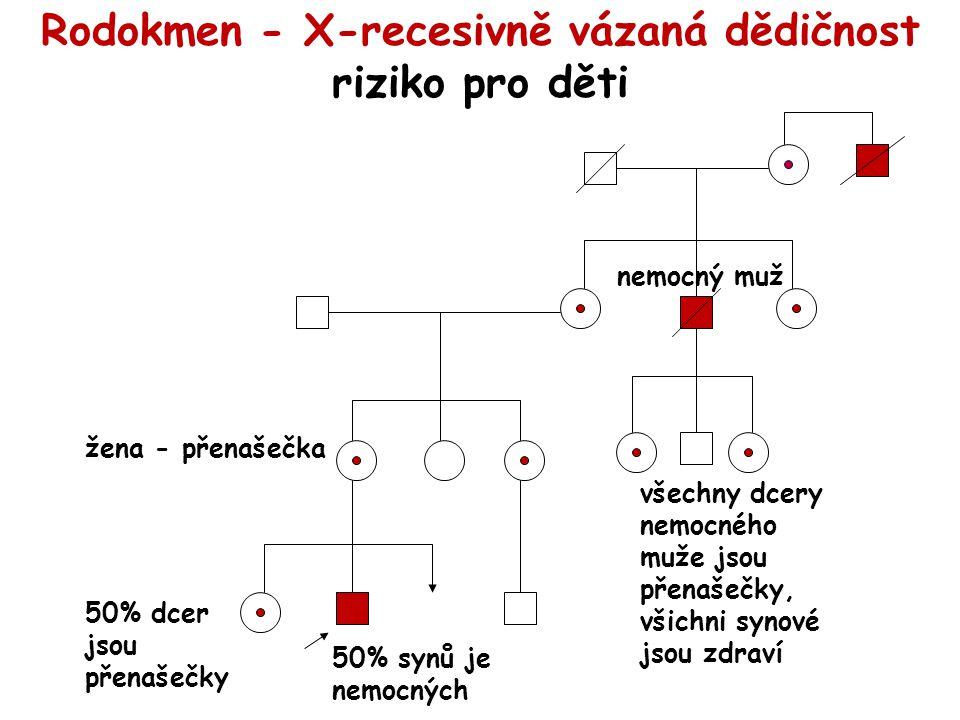 Rodokmen - X-recesivně vázaná dědičnost riziko pro děti 50% dcer jsou přenašečky 50% synů je nemocných všechny dcery nemocného muže jsou přenašečky, všichni synové jsou zdraví žena - přenašečka nemocný muž