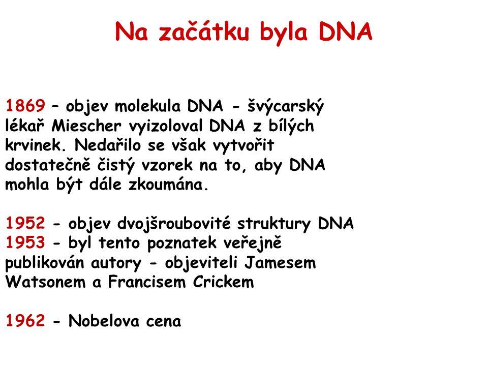 1869 – objev molekula DNA - švýcarský lékař Miescher vyizoloval DNA z bílých krvinek.
