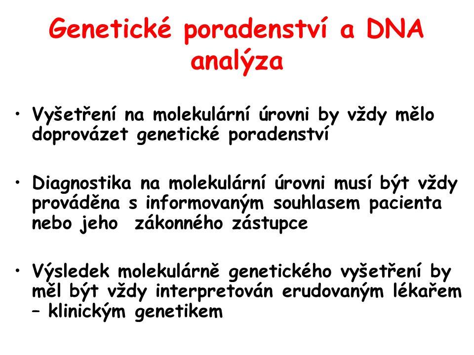Genetické poradenství a DNA analýza Vyšetření na molekulární úrovni by vždy mělo doprovázet genetické poradenství Diagnostika na molekulární úrovni musí být vždy prováděna s informovaným souhlasem pacienta nebo jeho zákonného zástupce Výsledek molekulárně genetického vyšetření by měl být vždy interpretován erudovaným lékařem – klinickým genetikem
