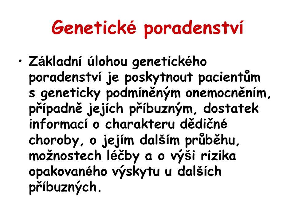 Genetick é poradenstv í Z á kladn í ú lohou genetick é ho poradenstv í je poskytnout pacientům s geneticky podm í něným onemocněn í m, př í padně jej