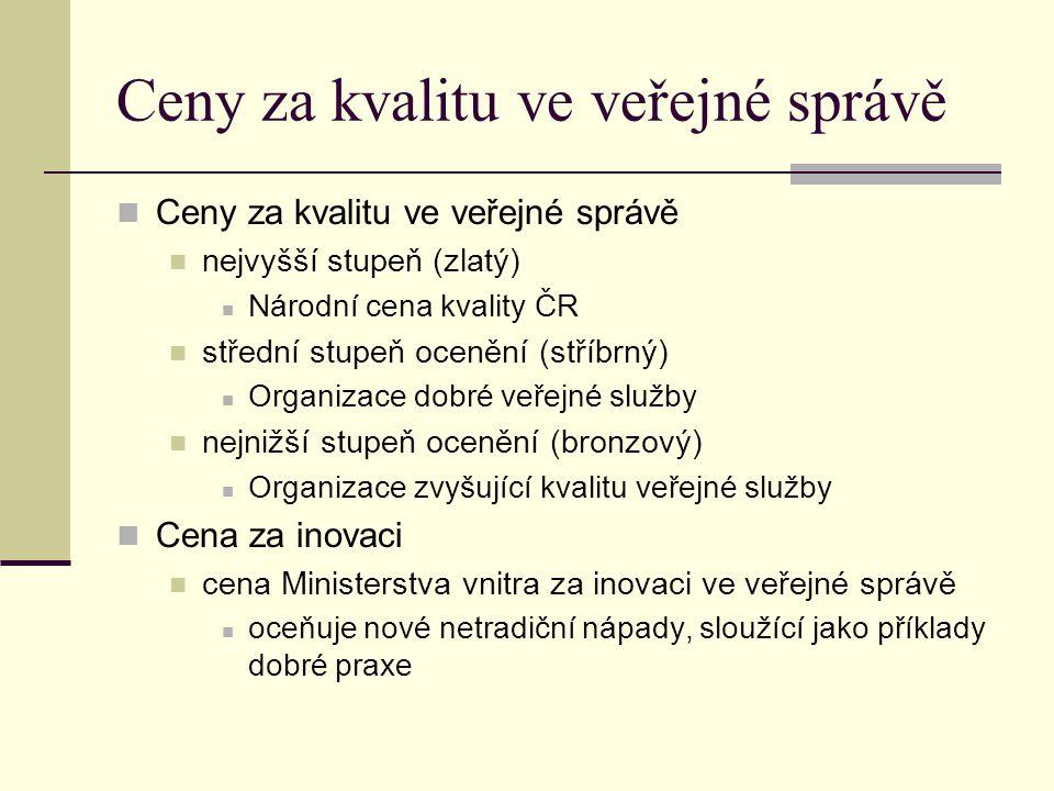 Ceny za kvalitu ve veřejné správě nejvyšší stupeň (zlatý) Národní cena kvality ČR střední stupeň ocenění (stříbrný) Organizace dobré veřejné služby ne