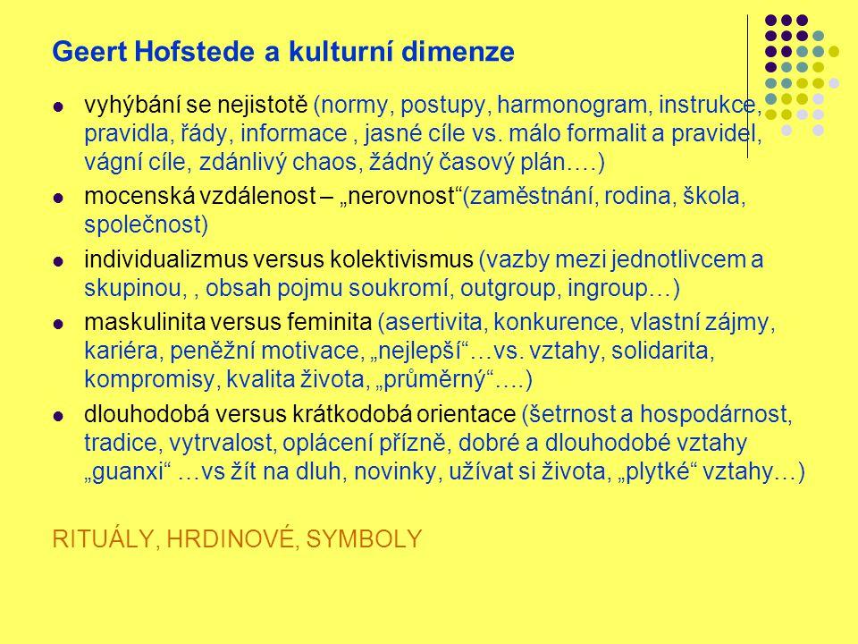 Geert Hofstede a kulturní dimenze vyhýbání se nejistotě (normy, postupy, harmonogram, instrukce, pravidla, řády, informace, jasné cíle vs. málo formal